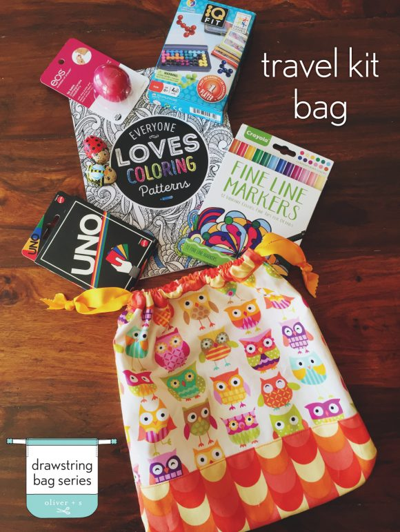Travel kit bag made from the Drawstring Bag pattern from Oliver + S Little Things to Sew