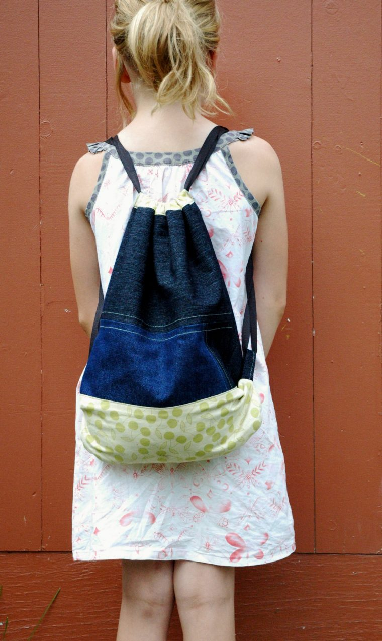 Drawstring Bag from Oliver + S Little Things to Sew turned into a drawstring backpack