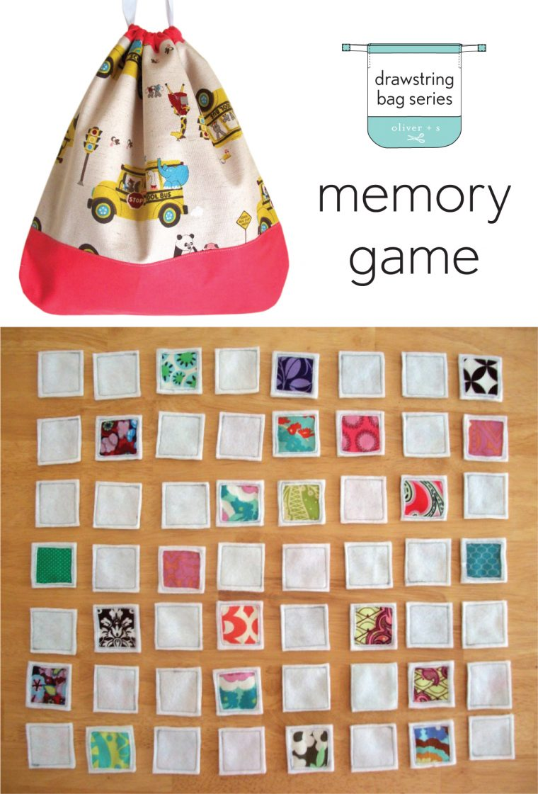 Use the Drawstring Bag pattern from Oliver + S Little Things to Sew to house a memory game
