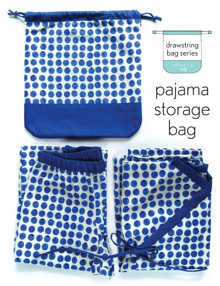 Oliver + S Bedtime Story Pajamas with a pajama storage drawstring bag from Little Things to Sew