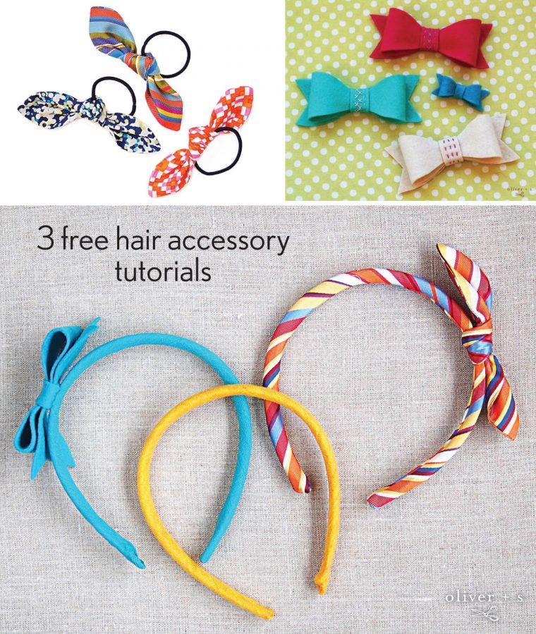 Three free patterns and tutorials to make hair accessories