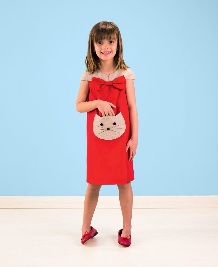 Building Block Dress with Cat