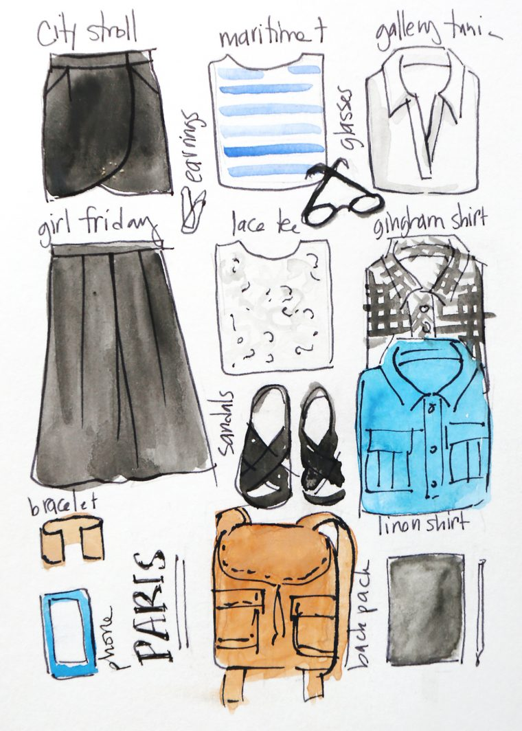 Liesl's Paris core wardrobe.