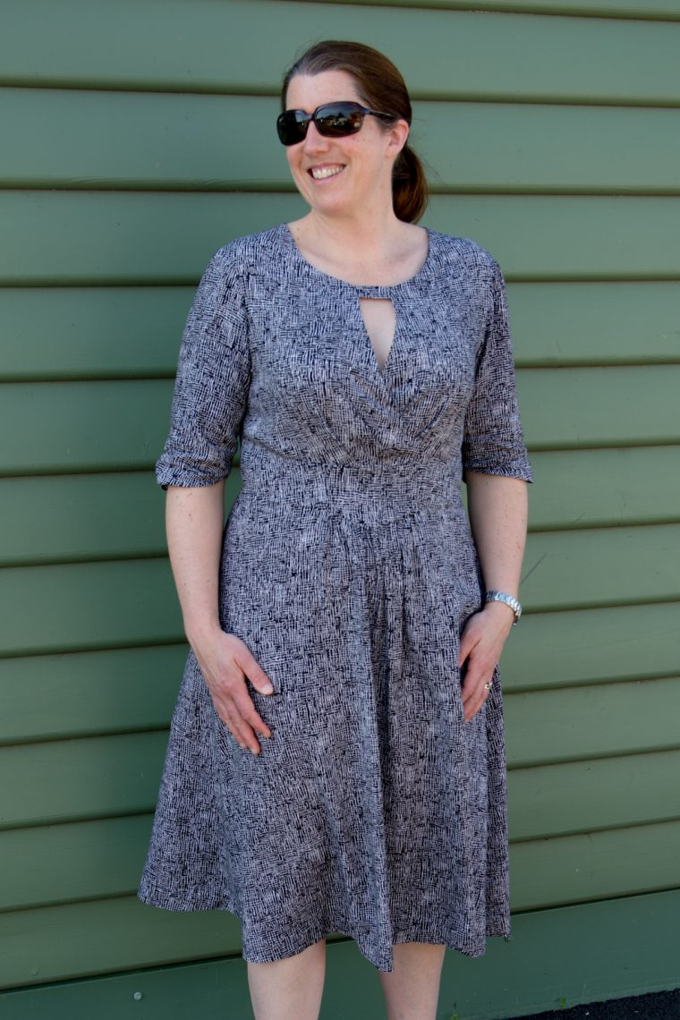 Gathered long sleeve on the Lisette for Butterick B6168 fit-and-flare dress
