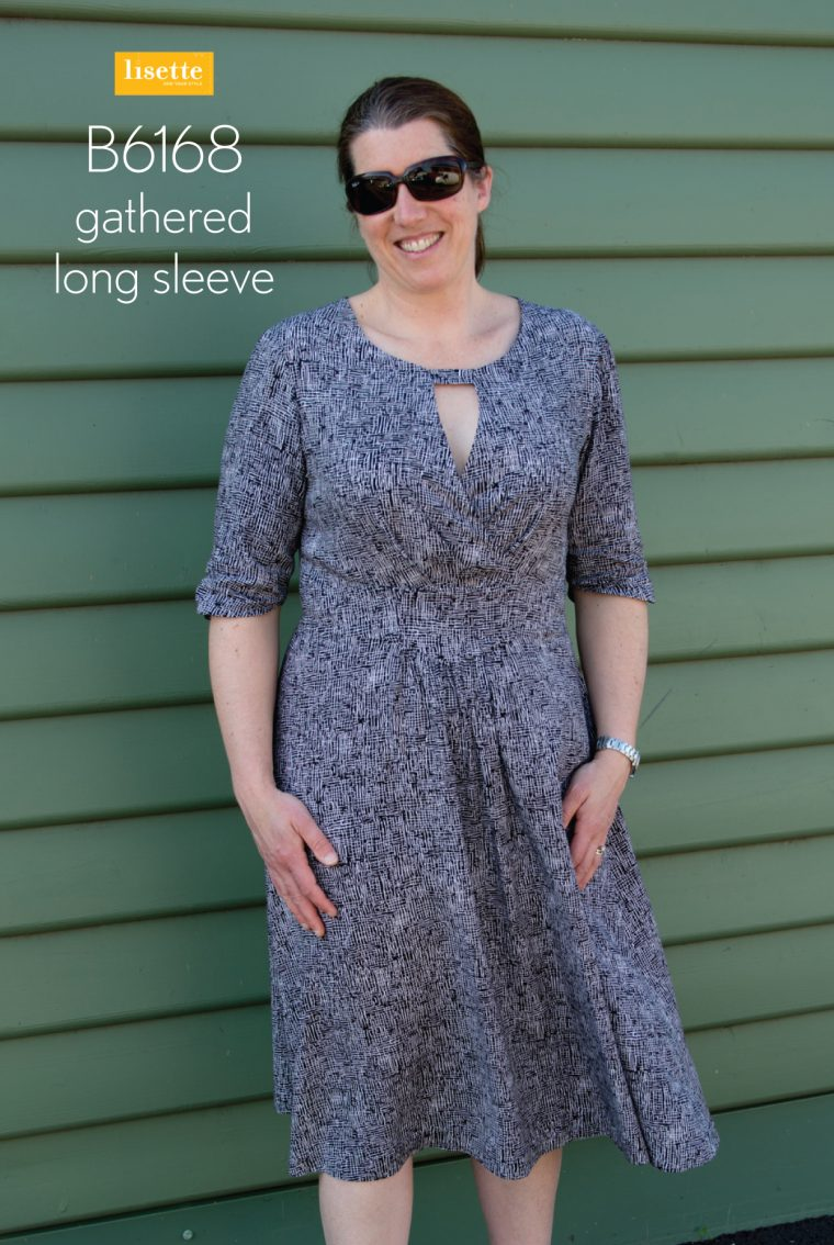 Gathered long sleeve on the Lisette B6168 fit-and-flare dress