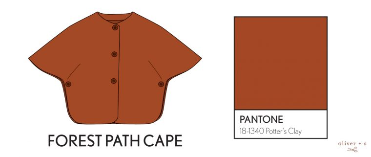 Oliver + S Forest Path Cape in Pantone fall colors