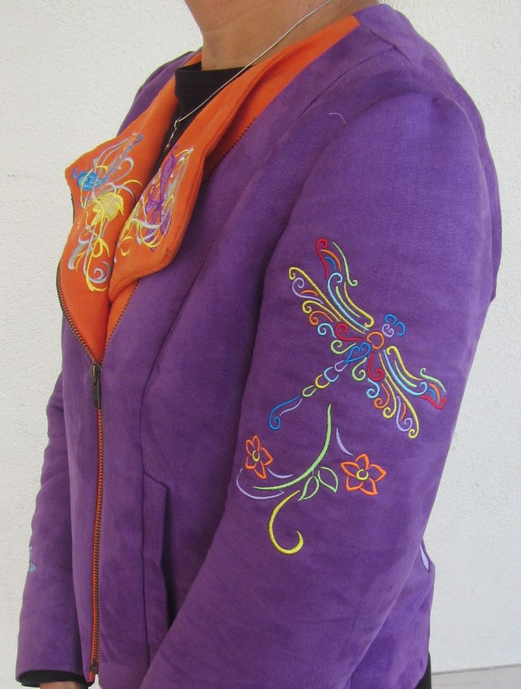 Embroidery on the Lisett for Butterick B6169 moto jacket