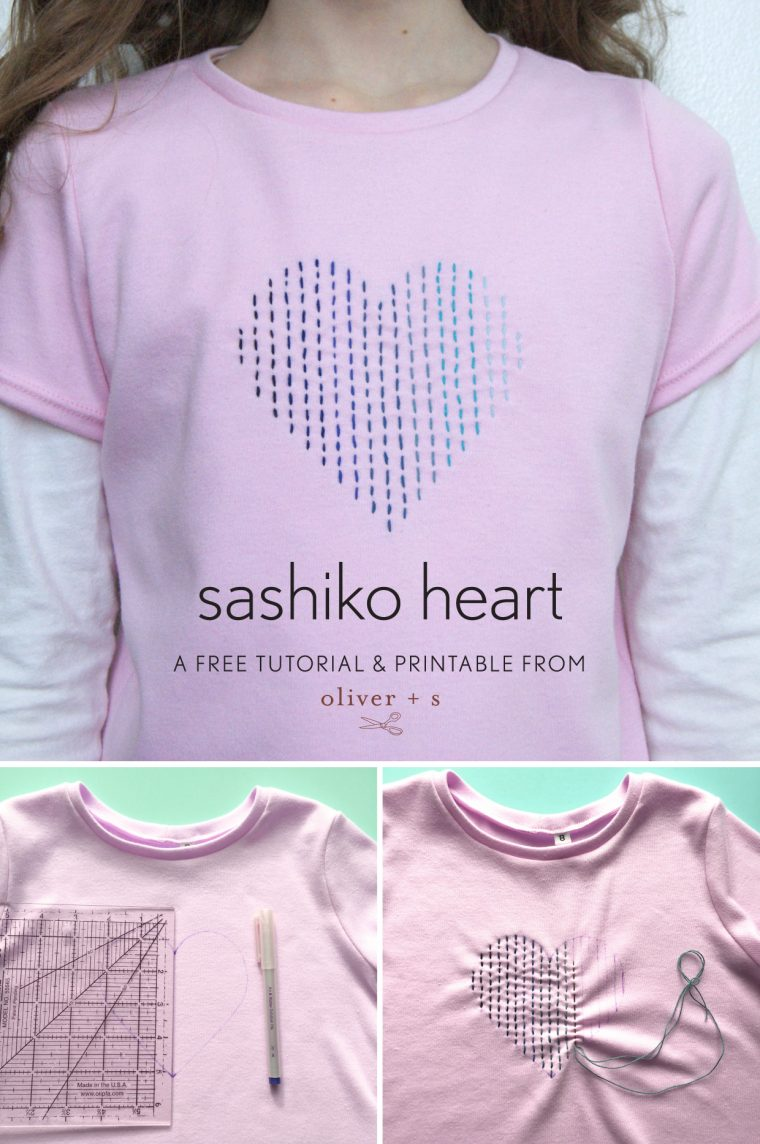 Oliver + S School Bus T-shirt with sashiko heart