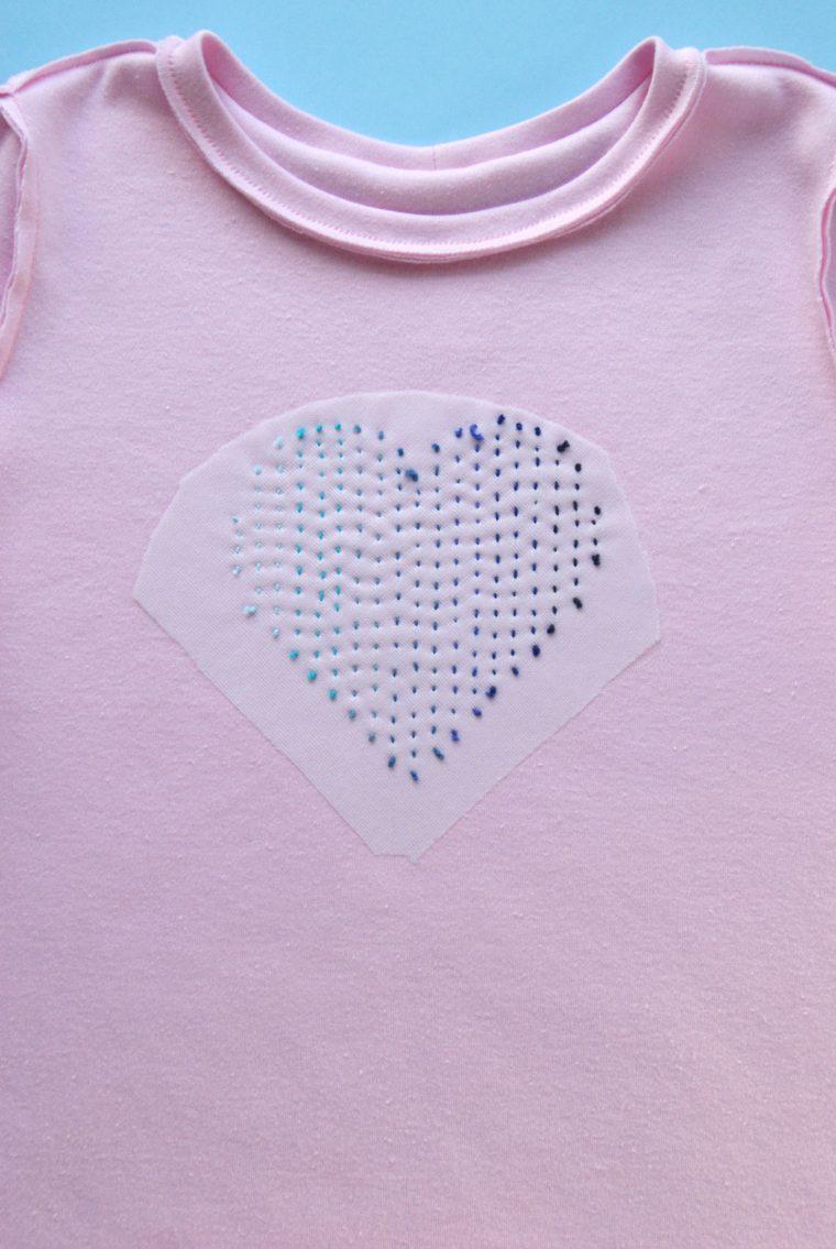 Back side of sashiko heart