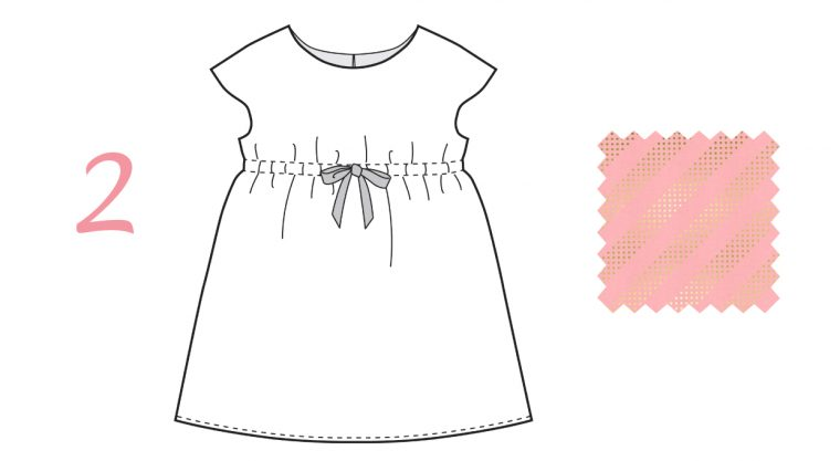 Oliver + S Roller Skate dress in Pink Flamingo