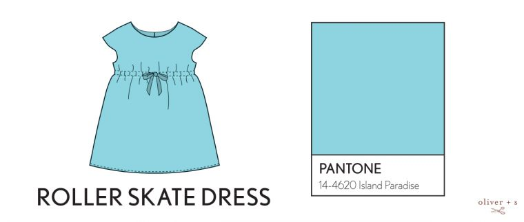 Oliver + S Roller Skate dress in Pantone spring 2017 color