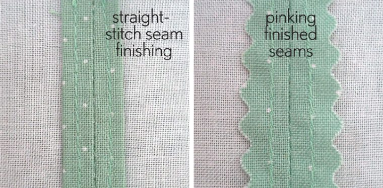 straight-stitch and pinking seams