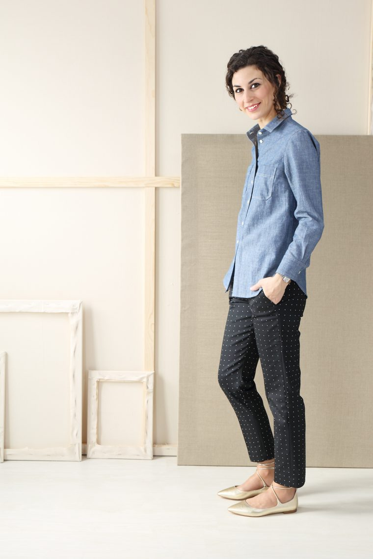 Liesl + Co Classic Shirt sewn in linen cotton chambray