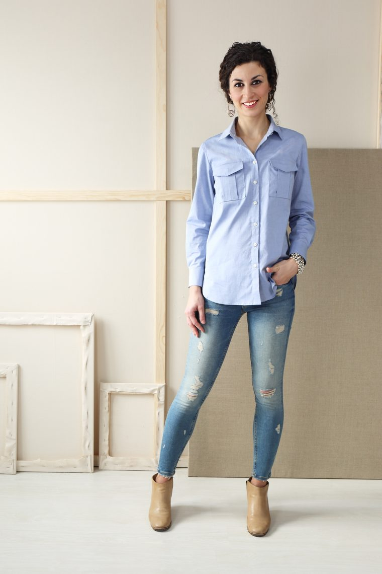 Liesl + Co Classic Shirt sewing pattern in pinpoint oxford