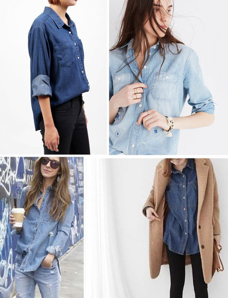 Liesl + Co Classic Shirt sewing pattern styling ideas: denim
