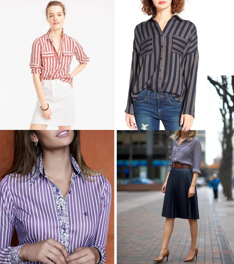Liesl + Co Classic Shirt sewing pattern styling ideas: stripes