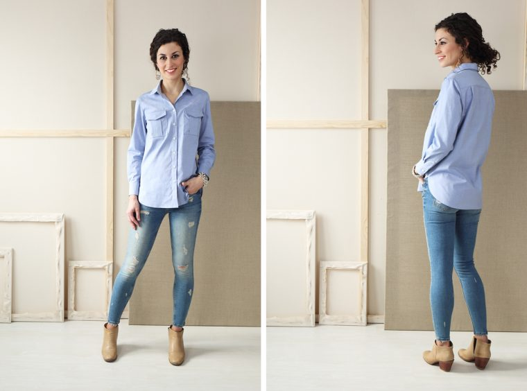 Liesl + Co Classic Shirt sewing pattern in oxford shirting