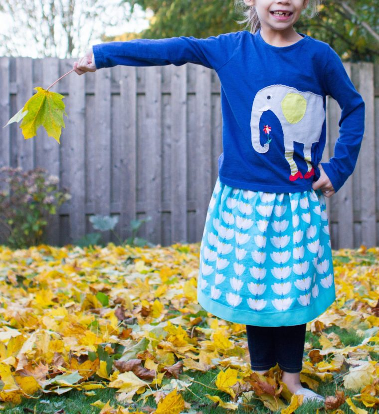 Girl sewed herself an Oliver + S Lazy Days Skirt