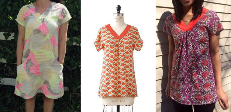 Liesl + Co Cappuccino Tunic in printed fabrics