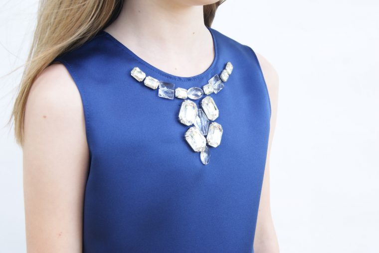 Jeweled neckline on an Oliver + S Building Block Dress