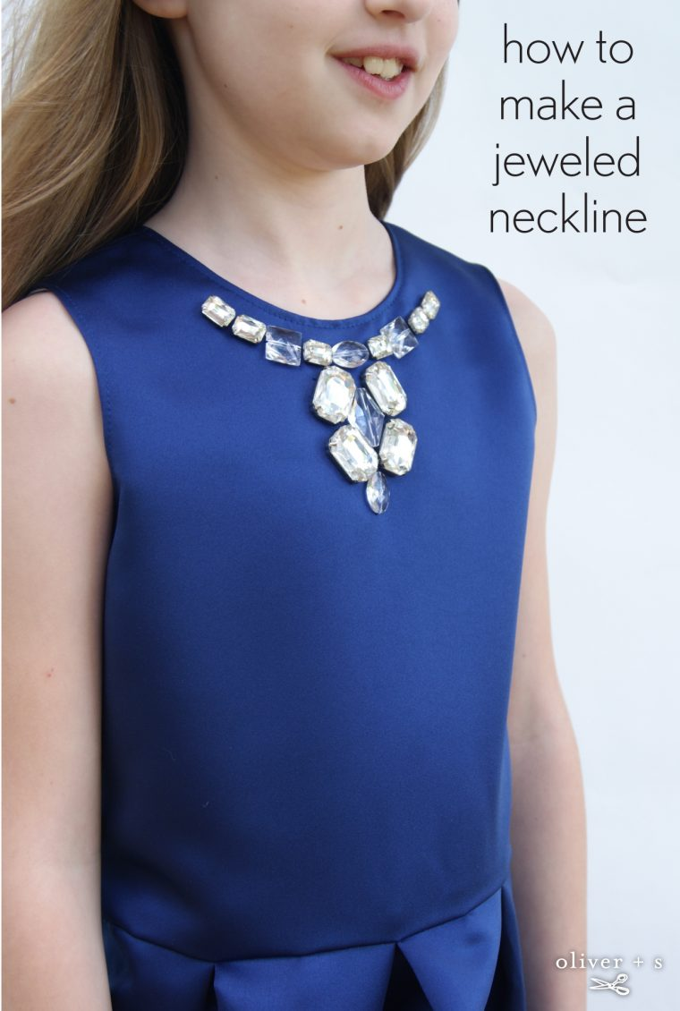 Jeweled neckline on the Oliver + S Building Block Dress