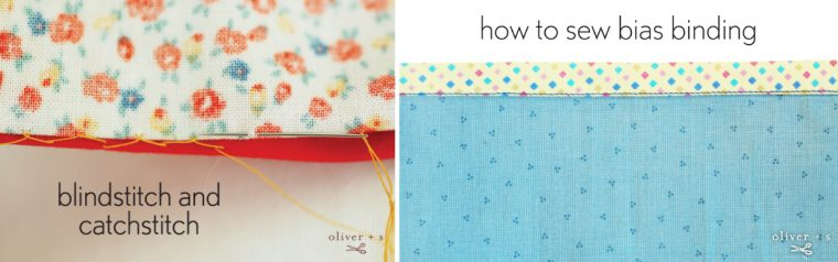 Blindstitch, catchstich, and bias binding