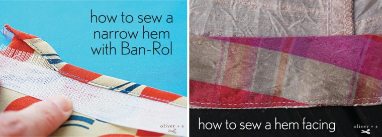 Narrow hem with Ban-Rol and hem facing