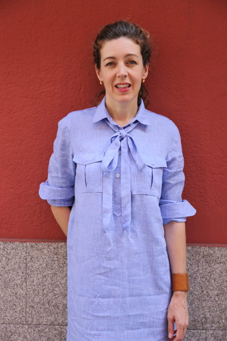 Liesl + Co Classic Shirt as shirt dress: pussy bow edition