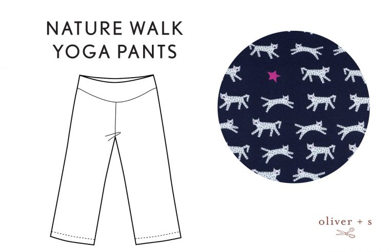 Oliver + S Nature Walk Yoga Pants in Hello by Cotton + Steel
