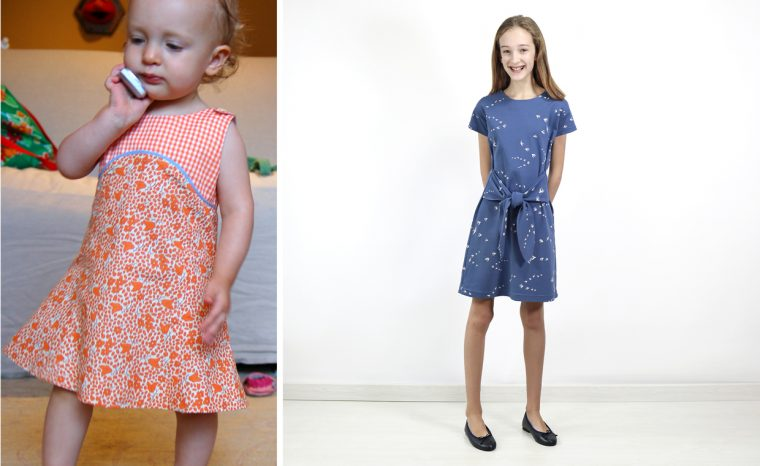 S wearing our very first pattern, the Tea Party Sundress, and our most recent--50th--pattern, the Girl on the Go Dress.