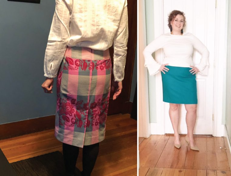 some of our testers' Liesl + Co Extra-Sharp Pencil Skirts