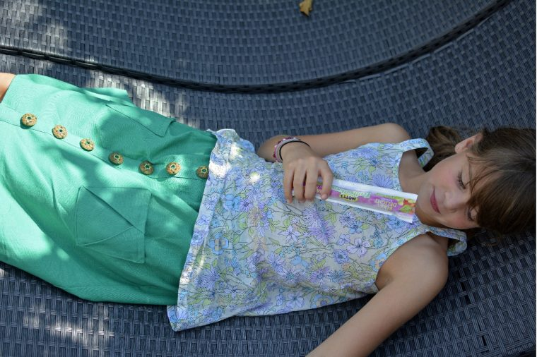 Oliver + S Hopscotch Skirt and Pinwheel Slip Dress turned into a top