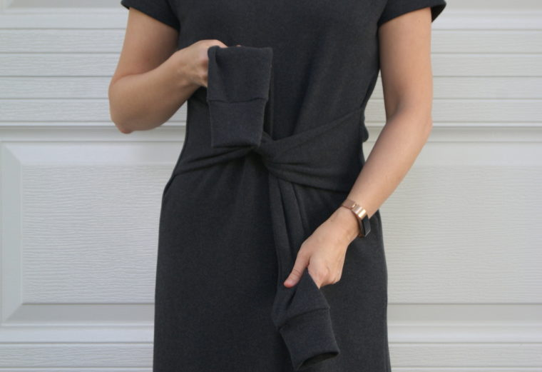 sleeve ties on t-shirt dress