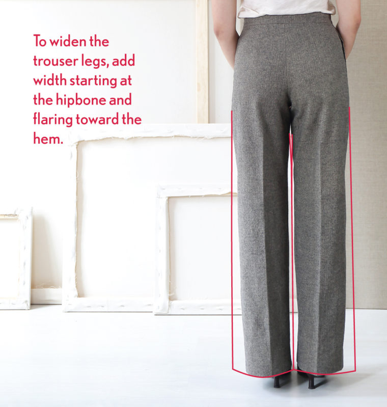 Add width by flaring equally at the hip