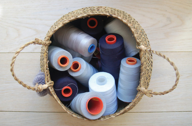 serger thread in basket