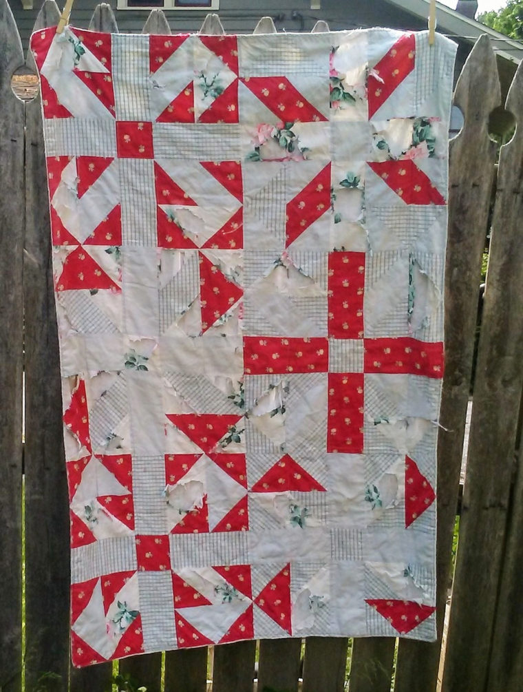 Baby quilt made from maternity dresses