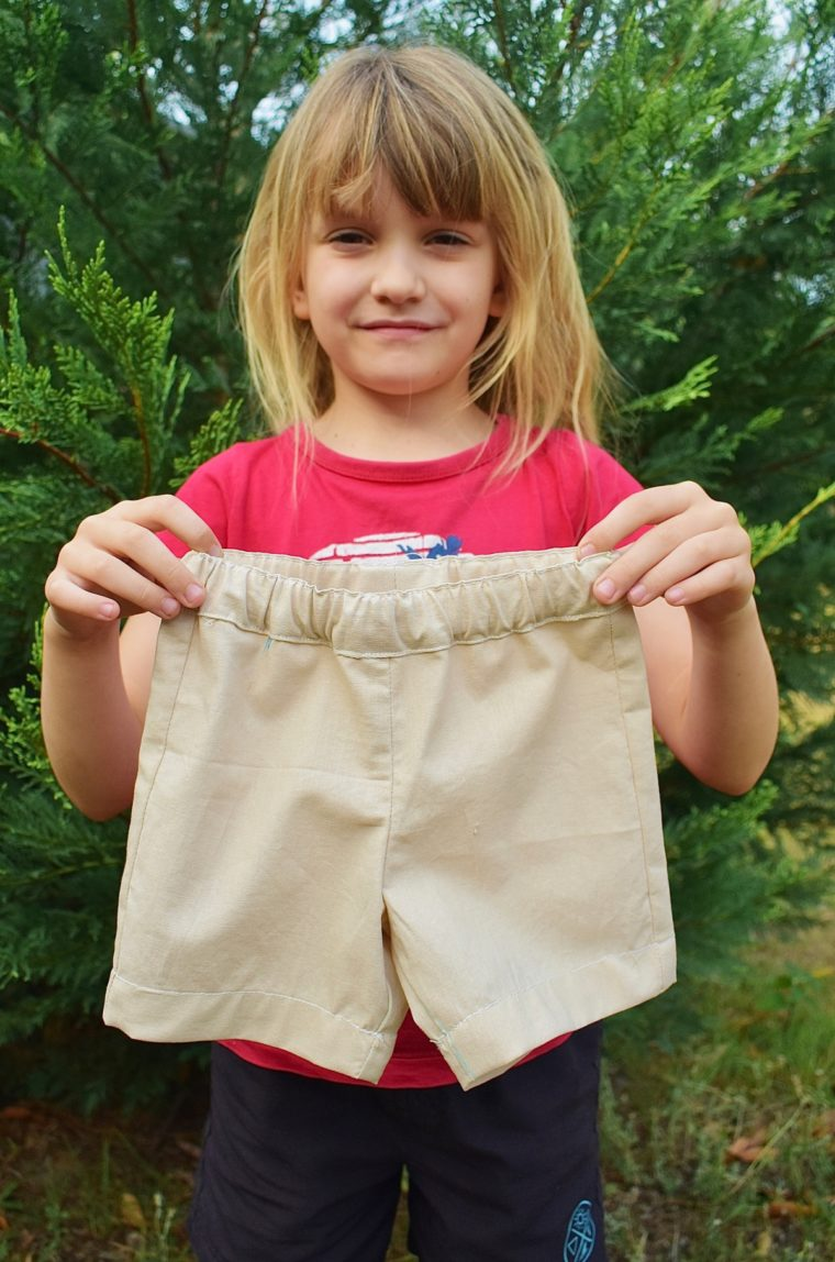 Teach kids to sew with this free shorts pattern.