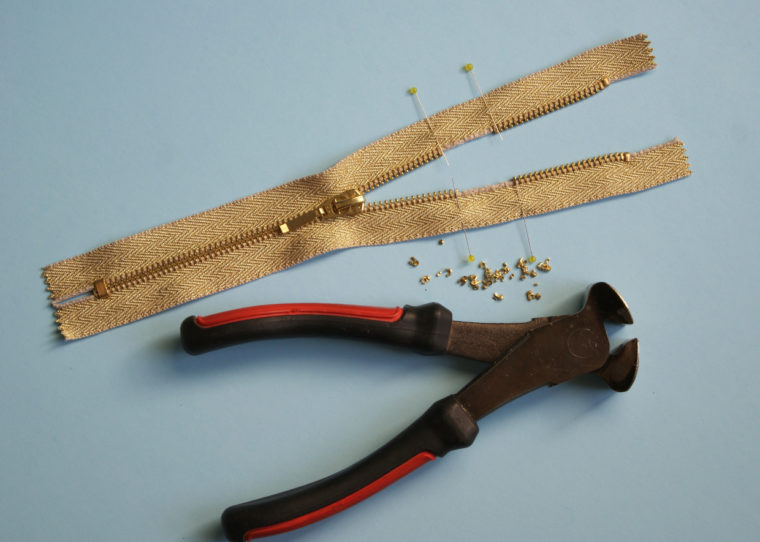 shortening metal zippers from the top