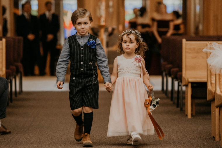 Handmade ring bearer and flower girl outfits made from Oliver + S patterns.