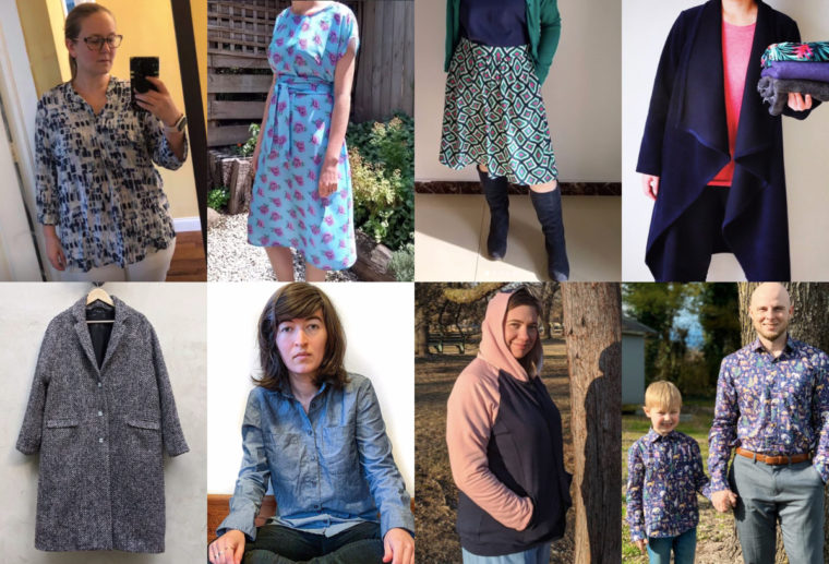Projects sewn from Liesl + Co. and Oliver + S patterns in January and February.