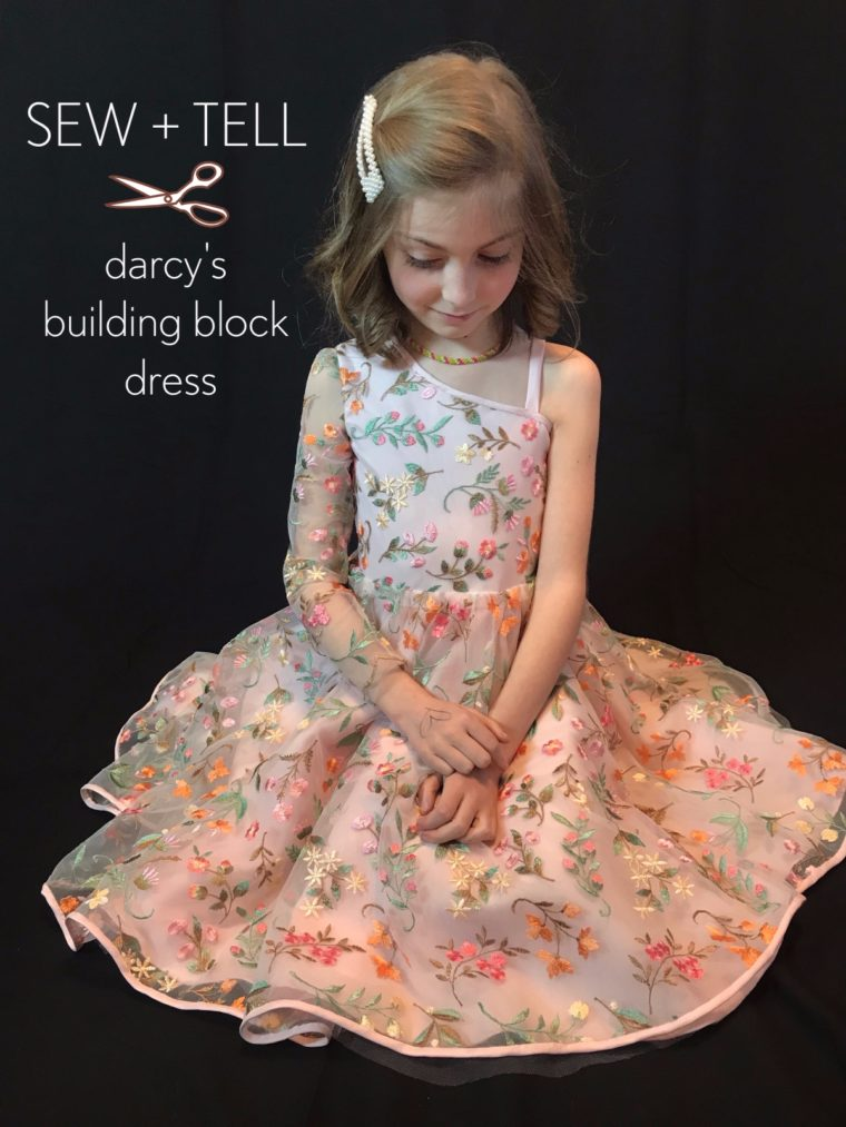 Darcy made a one-shouldered Building Block Dress.
