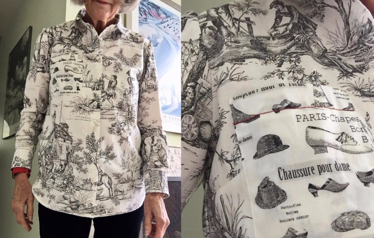 Cindy made this Classic Shirt using a fun toile fabric.