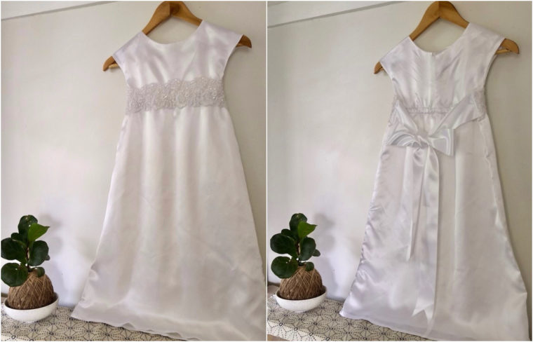 Jessica made a satin baptismal dress using the Roller Skate Dress pattern.