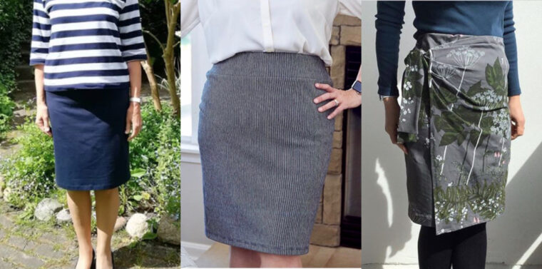 A round-up of spring skirts sewn using the Kensington Knit Skirt sewing pattern.