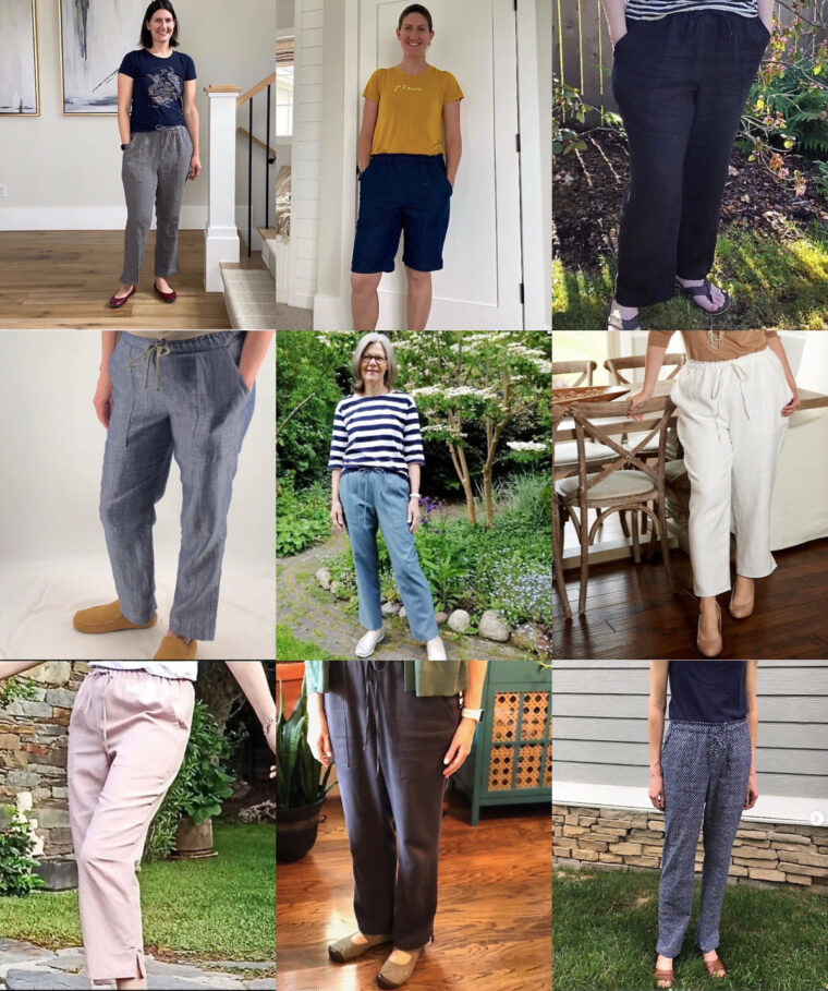 A round-up of spring trousers sewn using the Montauk Trousers sewing pattern.