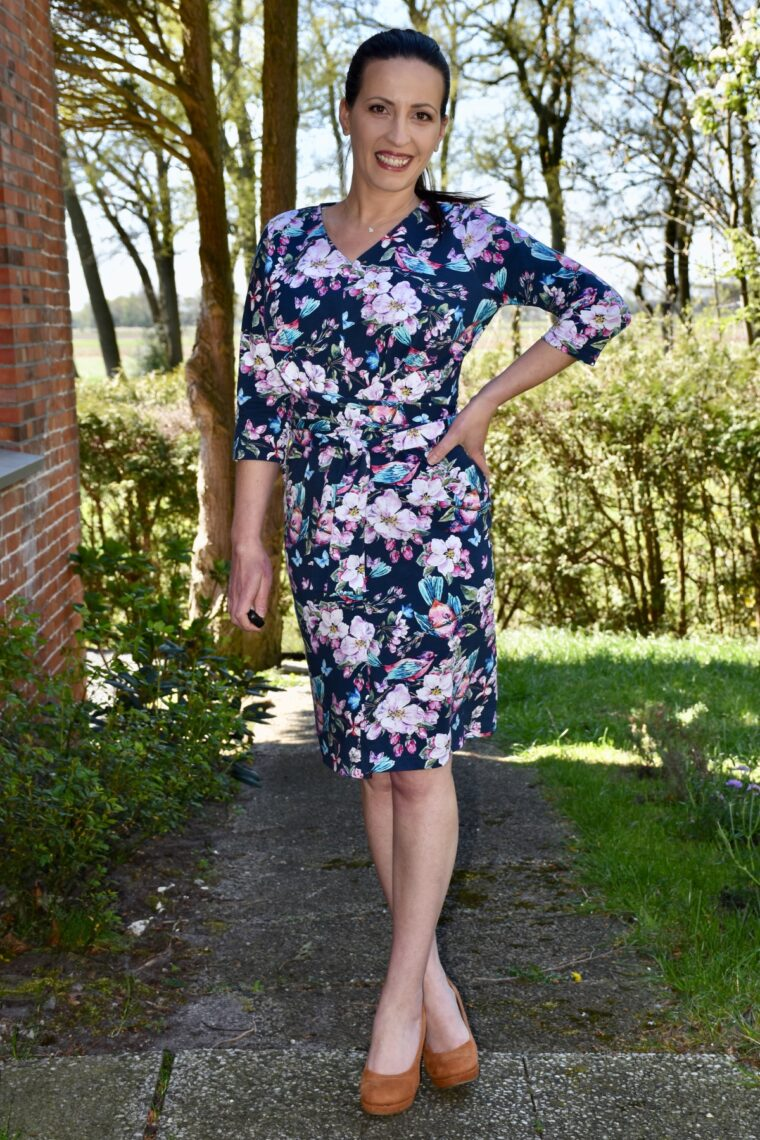 Camelia sewed this stunning Belgravia Knit Dress, featuring wrap ties and an easy-to-fit shape.