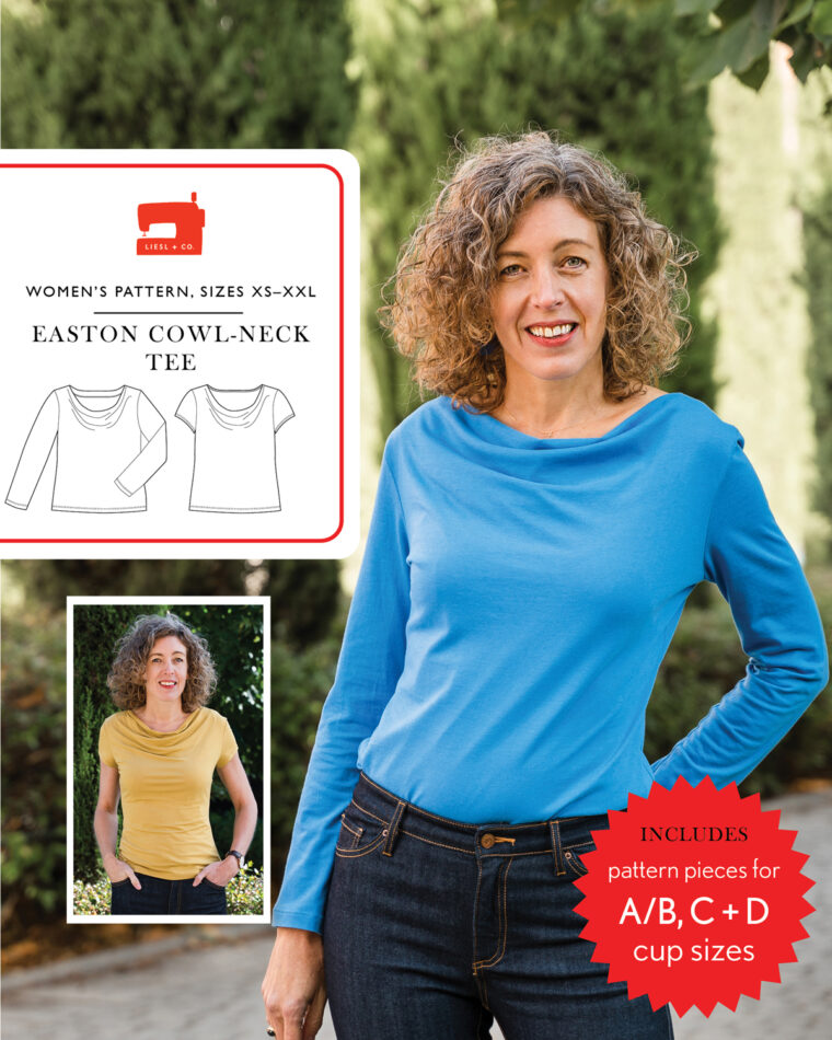 Liesl + Co Easton Cowl-Neck Tee sewing pattern
