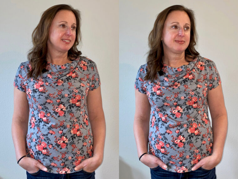 T-shirt fitting tips for a cowl-neck tee.