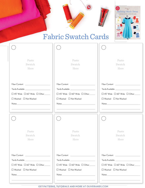 swatch card set free sewing patterns oliver s