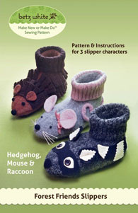 digital forest friends slippers sewing pattern